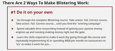 This graphic explains how I will fail with Blistering unless I pay them for the UpSell!